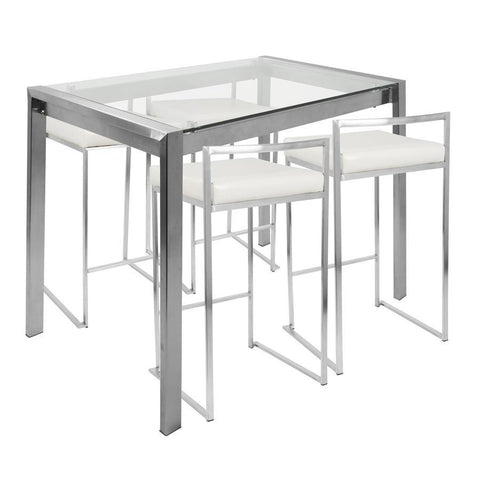 Lumisource Fuji 5-Piece Contemporary Counter Height Dining Set in Stainless Steel and White
