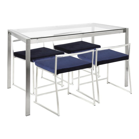 Lumisource Fuji 5-Piece Contemporary Dining Set in Stainless Steel & Blue Velvet Fabric