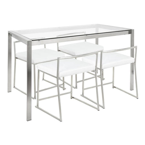 Lumisource Fuji 5-Piece Contemporary Dining Set in Stainless Steel & White Velvet Fabric