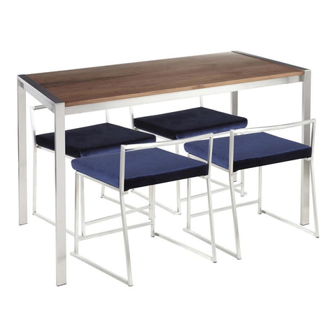 Lumisource Fuji 5-Piece Contemporary Dining Set in Stainless Steel/Walnut Wood & Blue Velvet Fabric