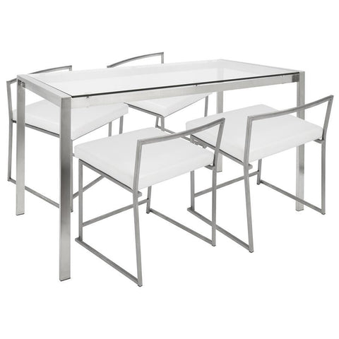 Lumisource Fuji 5-Piece Contemporary Dining Set in Stainless Steel and White Faux Leather