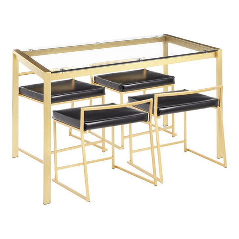 Lumisource Fuji 5-Piece Contemporary/Glam Dining Set in Gold Metal/Clear Tempered Glass & Black Faux Leather