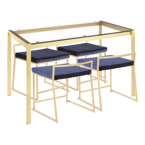 Lumisource Fuji 5-Piece Contemporary/Glam Dining Set in Gold Metal/Clear Tempered Glass & Blue Velvet Fabric