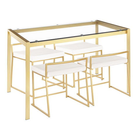 Lumisource Fuji 5-Piece Contemporary/Glam Dining Set in Gold Metal/Clear Tempered Glass & White Velvet Fabric