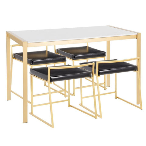 Lumisource Fuji 5-Piece Contemporary/Glam Dining Set in Gold Metal/White Marble & Black Faux Leather