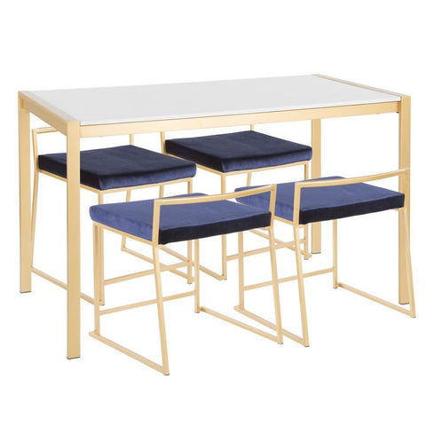 Lumisource Fuji 5-Piece Contemporary/Glam Dining Set in Gold Metal/White Marble & Blue Velvet Fabric