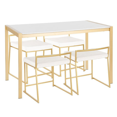 Lumisource Fuji 5-Piece Contemporary/Glam Dining Set in Gold Metal/White Marble & White Velvet Fabric