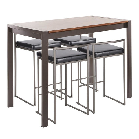 Lumisource Fuji 5-Piece Industrial Counter Height Dining Set in Antique Metal/Walnut Wood & Black Faux Leather