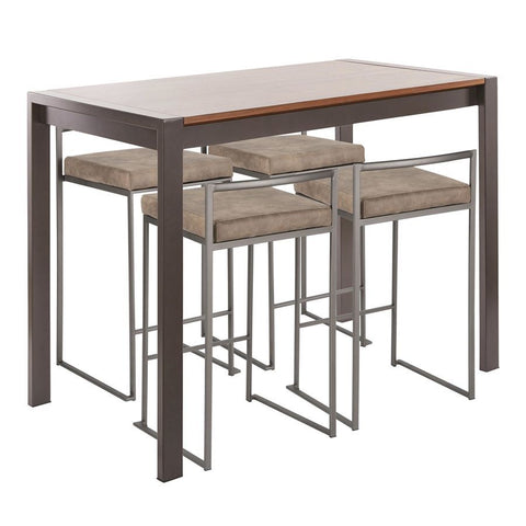 Lumisource Fuji 5-Piece Industrial Counter Height Dining Set in Antique Metal/Walnut Wood & Brown Cowboy Fabric