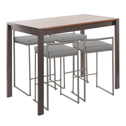 Lumisource Fuji 5-Piece Industrial Counter Height Dining Set in Antique Metal/Walnut Wood & Grey Faux Leather