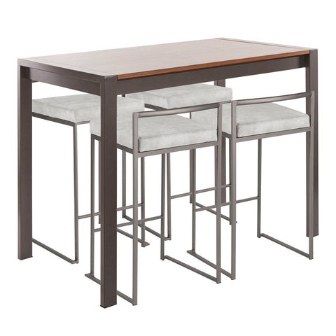 Lumisource Fuji 5-Piece Industrial Counter Height Dining Set in Antique Metal/Walnut Wood & Light Grey Cowboy Fabric