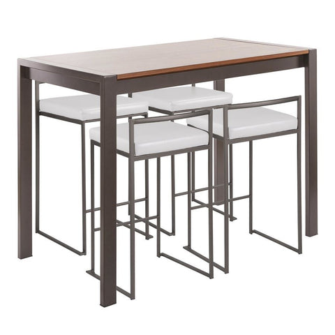 Lumisource Fuji 5-Piece Industrial Counter Height Dining Set in Antique Metal/Walnut Wood & White Faux Leather