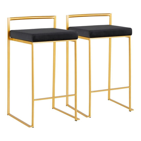 Lumisource Fuji Contemporary Counter Stool in Gold with Black Velvet Cushion - Set of 2
