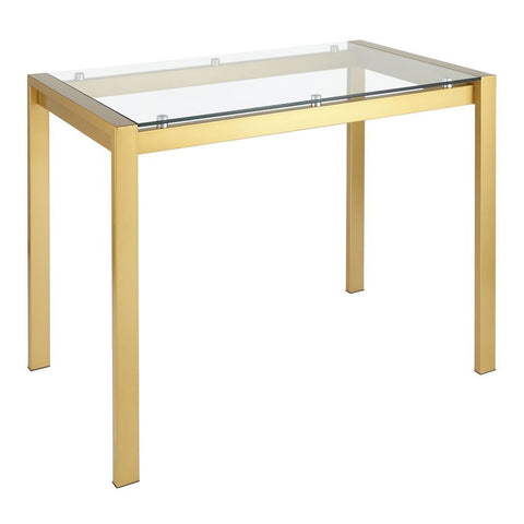 Lumisource Fuji Contemporary Counter Table in Gold Metal & Clear Glass