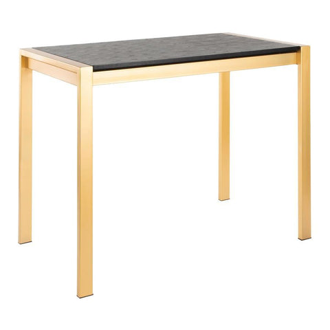 Lumisource Fuji Contemporary Counter Table in Gold Metal and Black Wood Grain Top