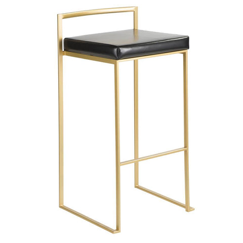 Lumisource Fuji Contemporary-Glam Barstool in Gold with Black Faux Leather - Set of 2