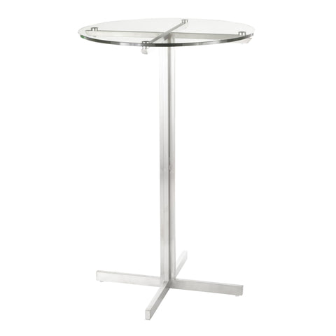 Lumisource Fuji Contemporary Round Bar Table in Stainless Steel w/Clear Glass Top