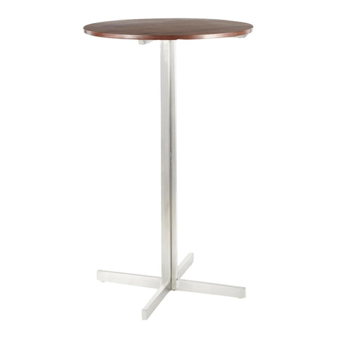 Lumisource Fuji Contemporary Round Bar Table in Stainless Steel w/Walnut Wood Top