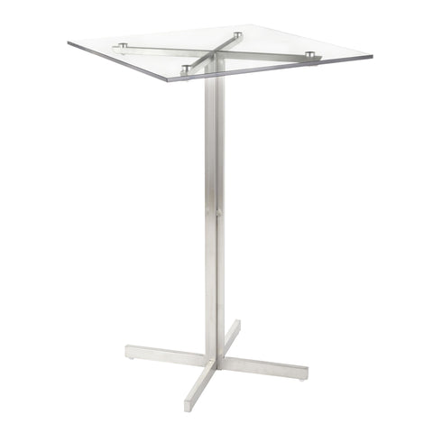 Lumisource Fuji Contemporary Square Bar Table in Stainless Steel w/Clear Glass Top