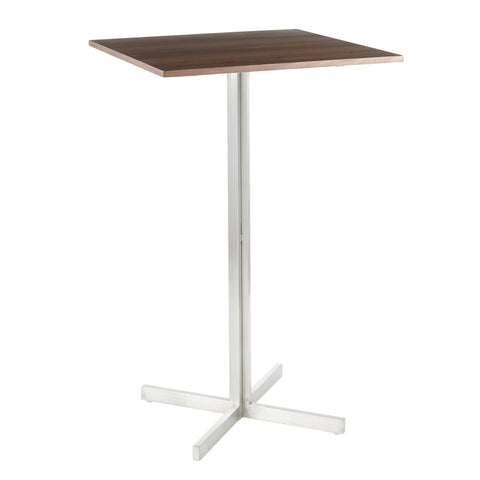 Lumisource Fuji Contemporary Square Bar Table in Stainless Steel w/Walnut Wood Top