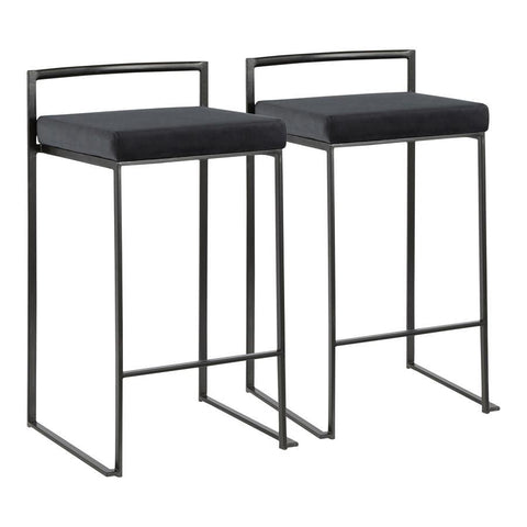 Lumisource Fuji Contemporary Stackable Counter Stool in Black with Black Velvet Cushion - Set of 2