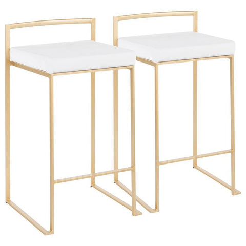Lumisource Fuji Contemporary Stackable Counter Stool in Gold with White Velvet Cushion - Set of 2