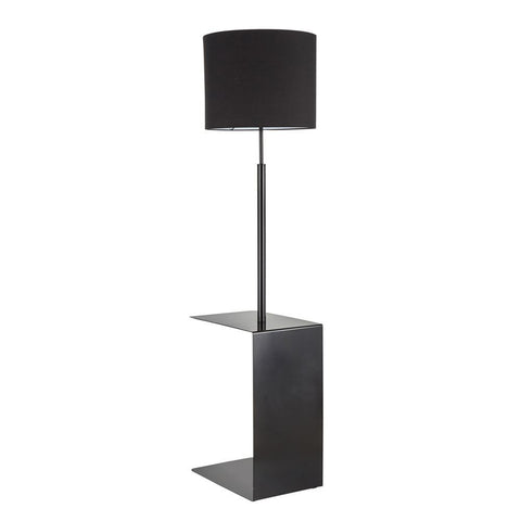 Lumisource Gamma Contemporary Floor Lamp in Black Metal and Black Linen Shade with Black Metal Side Table