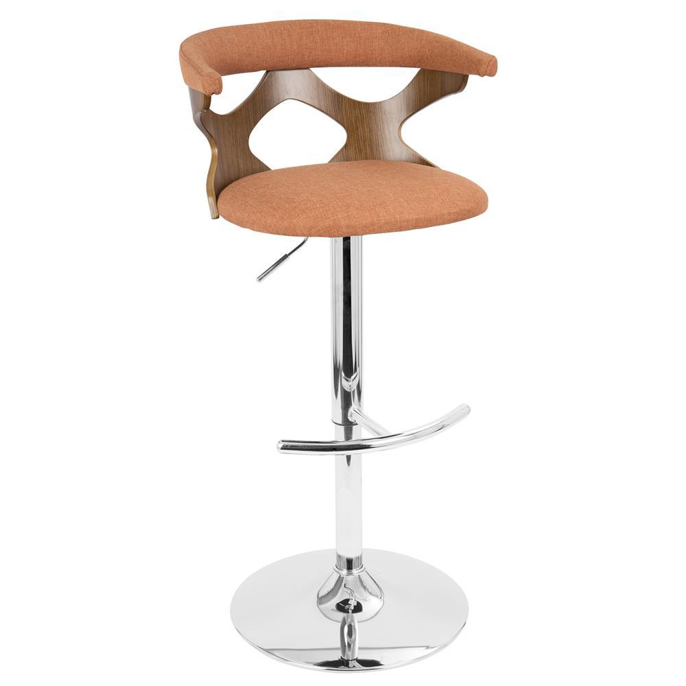 Fantastic Lumisource Gardenia Mid Century Modern Adjustable Barstool With Swivel In Walnut And Orange Forskolin Free Trial Chair Design Images Forskolin Free Trialorg