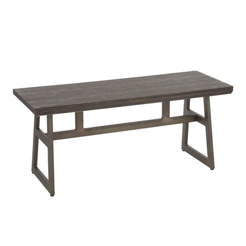 Lumisource Geo Industrial Bench in Antique Metal & Espresso Wood-Pressed Grain Bamboo
