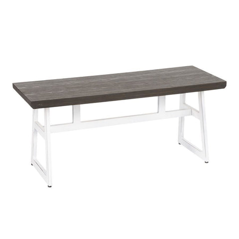 Lumisource Geo Industrial Bench in Vintage White Metal & Espresso Wood-Pressed Grain Bamboo