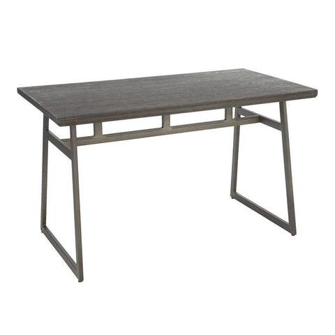 Lumisource Geo Industrial Dining Table in Antique Metal & Espresso Wood-Pressed Grain Bamboo