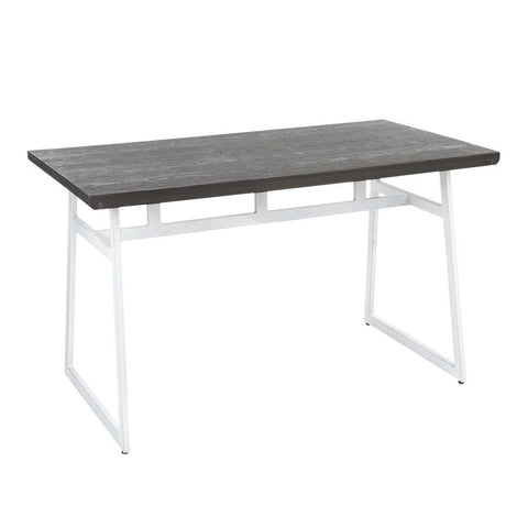 Lumisource Geo Industrial Dining Table in Vintage White Metal & Espresso Wood-Pressed Grain Bamboo