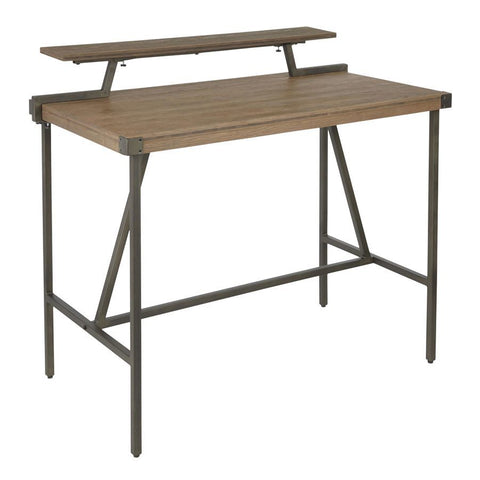 Lumisource Gia Industrial Counter Table in Antique Metal & Brown Wood-Pressed Grain Bamboo