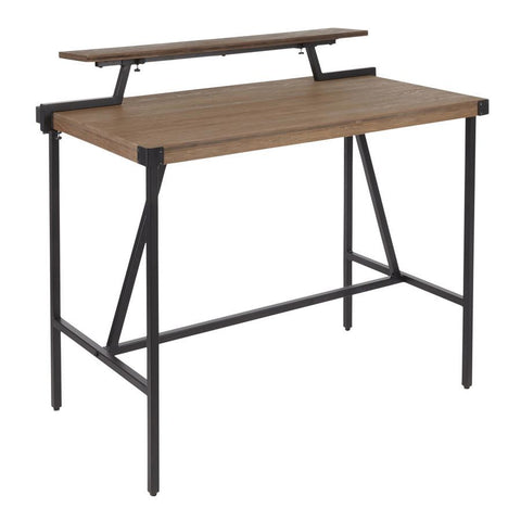 Lumisource Gia Industrial Counter Table in Black Metal & Brown Wood-Pressed Grain Bamboo