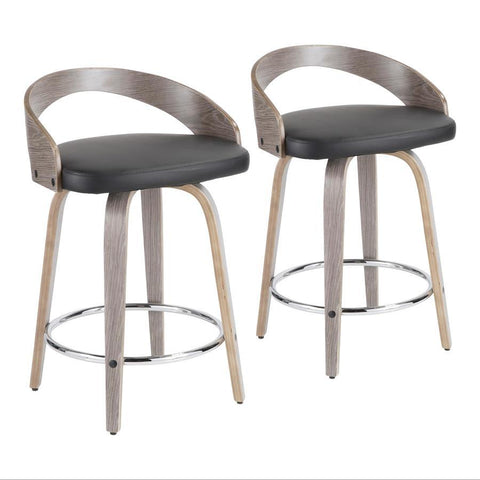 Lumisource Grotto Mid-Century Modern Counter Stool with Light Grey Wood and Black Faux Leather - Set of 2