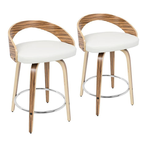 Lumisource Grotto Mid-Century Modern Counter Stool with Swivel in Zebra Wood and White Faux Leather - Set of 2