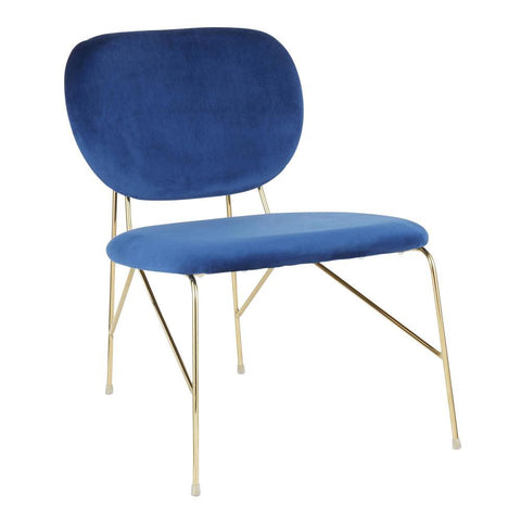 Lumisource Gwen Contemporary/Glam Accent Chair in Gold Metal and Blue Velvet