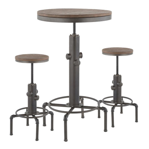 Lumisource Hydra Industrial Bar Set in Antique Metal and Brown Wood-Pressed Grain Bamboo