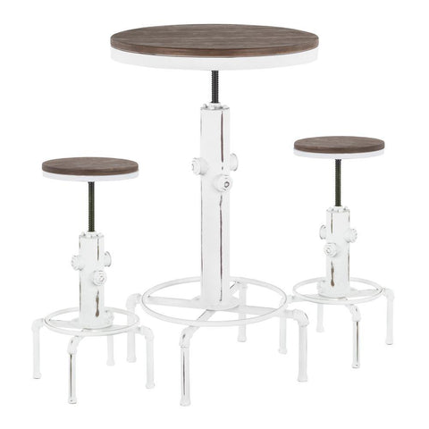 Lumisource Hydra Industrial Bar Set in Vintage White Metal and Brown Wood-Pressed Grain Bamboo