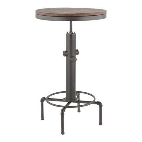 Lumisource Hydra Industrial Bar Table in Vintage Antique Metal and Brown Wood-Pressed Grain Bamboo