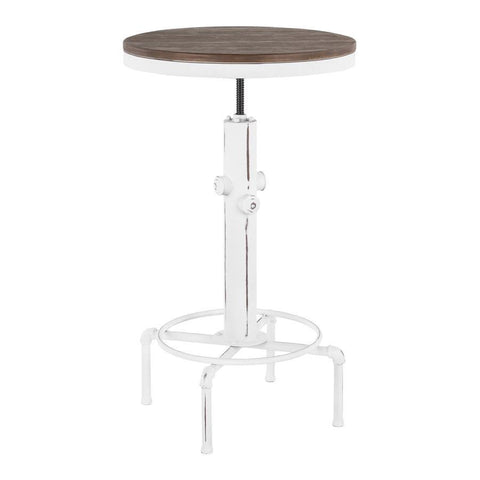 Lumisource Hydra Industrial Bar Table in Vintage White Metal and Brown Wood-Pressed Grain Bamboo