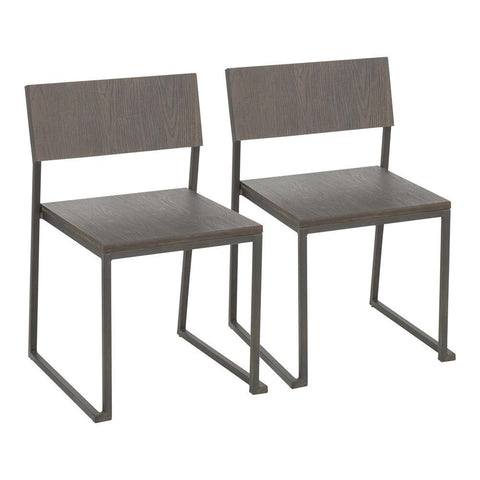 Lumisource Industrial Fuji Chair in Antique Metal and Espresso Wood-Pressed Grain Bamboo - Set of 2