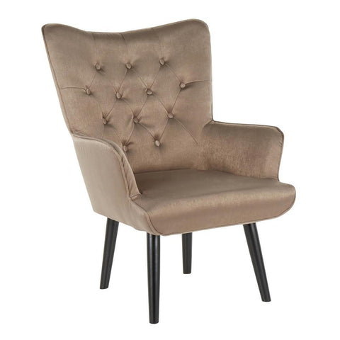 Lumisource Isabel Contemporary Accent Chair in Black Wooden Legs and Brown Satin Fabric