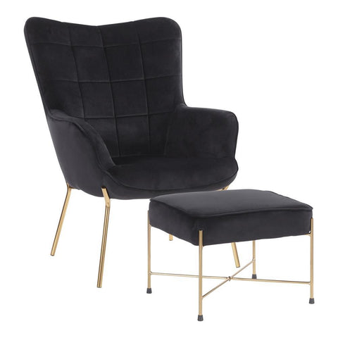 Lumisource Izzy Contemporary Lounge Chair and Ottoman Set in Gold Metal and Black Velvet Fabric