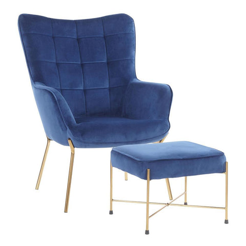 Lumisource Izzy Contemporary Lounge Chair and Ottoman Set in Gold Metal and Blue Velvet Fabric