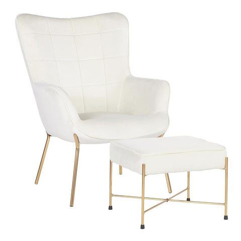 Lumisource Izzy Contemporary Lounge Chair and Ottoman Set in Gold Metal and Cream Velvet Fabric