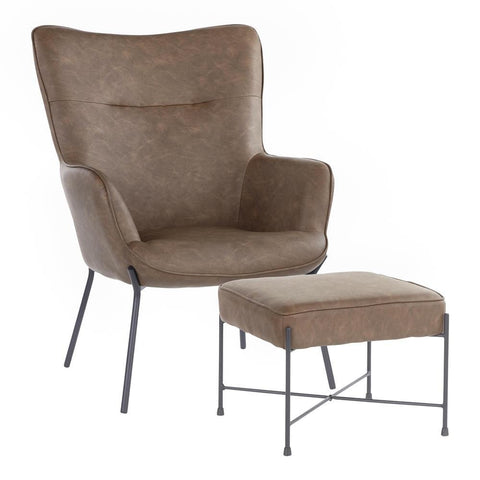 Lumisource Izzy Industrial Lounge Chair and Ottoman Set in Black Metal and Espresso Faux Leather