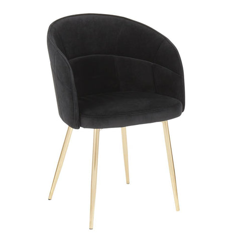 Lumisource Lindsey Contemporary Chair in Gold Metal and Black Velvet