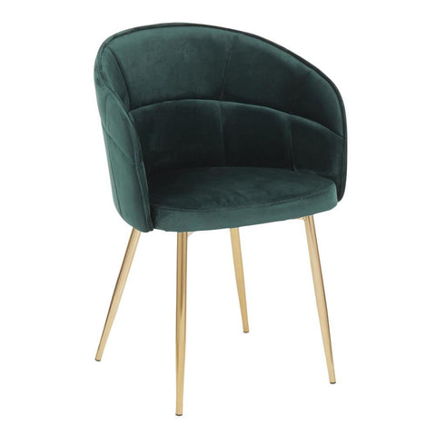 Lumisource Lindsey Contemporary Chair in Gold Metal and Green Velvet