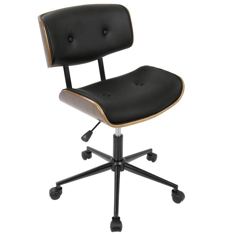 Lumisource Lombardi Mid-Century Modern Adjustable Office Chair with Swivel in Walnut and Black